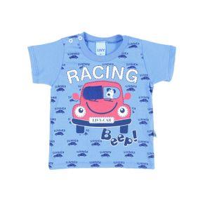 Camiseta Manga Curta Infantil para Menino - Azul M