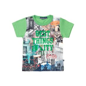 Camiseta Manga Curta Infantil para Menino Bebê - Verde G