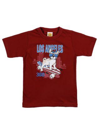 Camiseta Manga Curta Infantil para Menino - Bordô