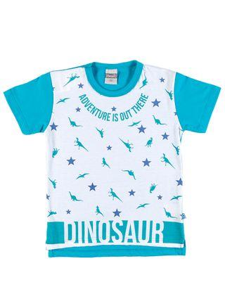 Camiseta Manga Curta Infantil para Menino - Branco/verde