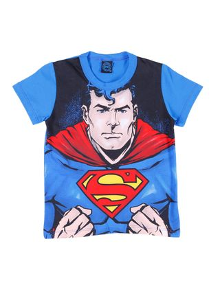Camiseta Manga Curta Infantil para Menino Justice League Azul