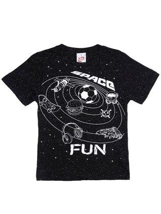 Camiseta Manga Curta Infantil para Menino - Preto