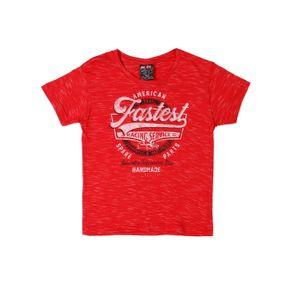 Camiseta Manga Curta Infantil para Menino - Vermelho 1