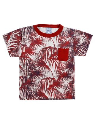 Camiseta Manga Curta Infantil para Menino - Vermelho