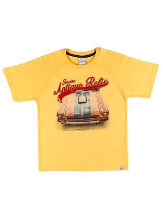 Camiseta Manga Curta Juvenil para Menino - Amarelo