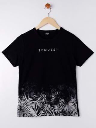 Camiseta Manga Curta Juvenil para Menino - Preto