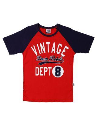 Camiseta Manga Curta Juvenil para Menino - Vermelho