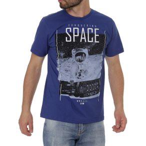 Camiseta Manga Curta Masculina Azul G