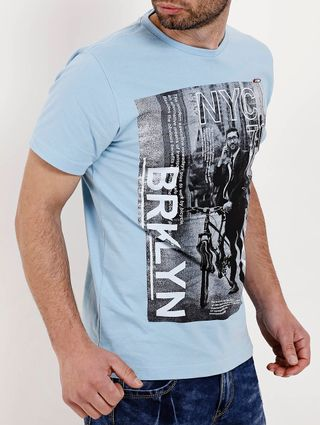 Camiseta Manga Curta Masculina Azul