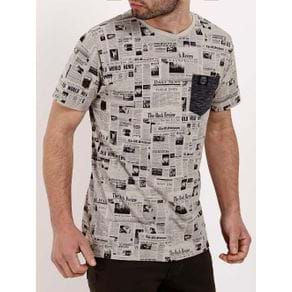 Camiseta Manga Curta Masculina Bege G