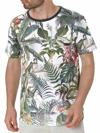Camiseta Manga Curta Masculina Branco/verde