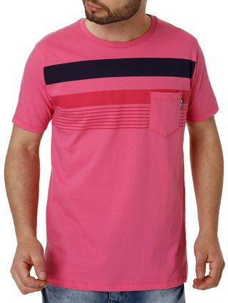 Camiseta Manga Curta Masculina no Stress Rosa