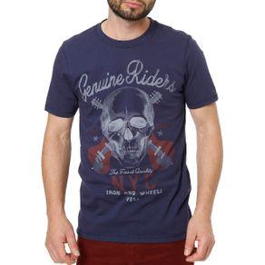 Camiseta Manga Curta Masculina Vels Azul GG