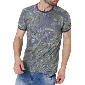 Camiseta Manga Curta Masculina Vels Azul/verde M