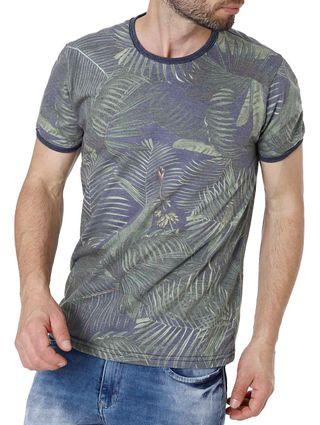 Camiseta Manga Curta Masculina Vels Azul/verde