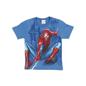 Camiseta Manga Curta Spider-Man Infantil para Menino - Azul 10