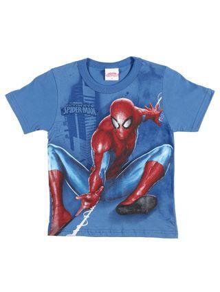 Camiseta Manga Curta Spider-Man Infantil para Menino - Azul