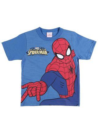 Camiseta Manga Curta Spider Man Infantil para Menino - Azul