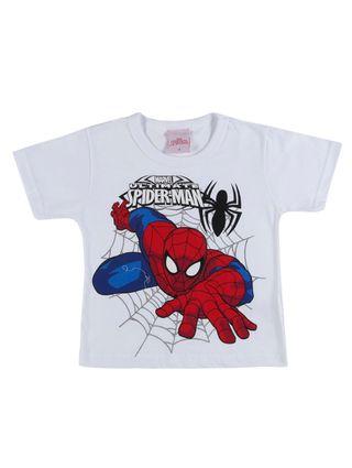 Camiseta Manga Curta Spider Man Infantil para Menino - Branco
