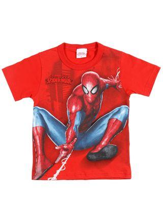 Camiseta Manga Curta Spider-Man Infantil para Menino - Vermelho