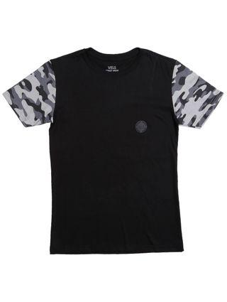 Camiseta Manga Curta Vels Juvenil para Menino - Preto