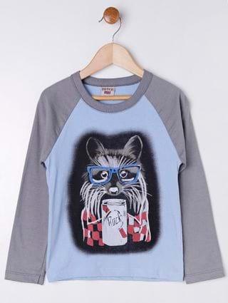 Camiseta Manga Longa Infantil para Menino - Azul/cinza