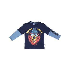 Camiseta Manga Longa Infantil para Menino - Azul Marinho 2