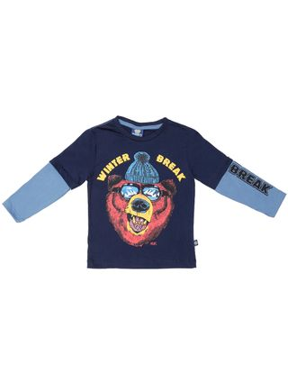 Camiseta Manga Longa Infantil para Menino - Azul Marinho