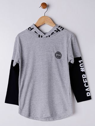 Camiseta Manga Longa Infantil para Menino - Cinza