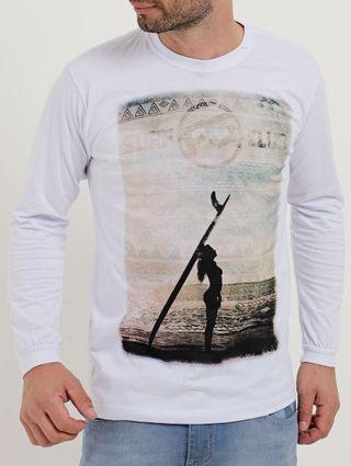 Camiseta Manga Longa Masculina Branco