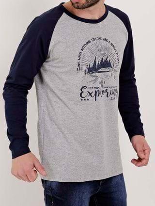 Camiseta Manga Longa Masculina Cinza/azul Marinho