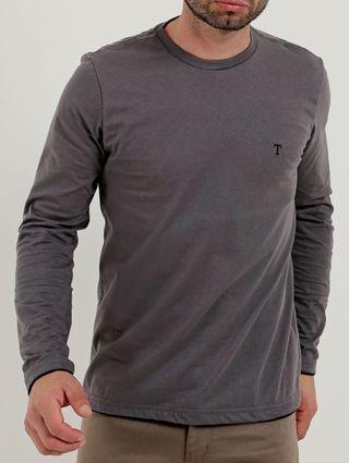 Camiseta Manga Longa Masculina Cinza