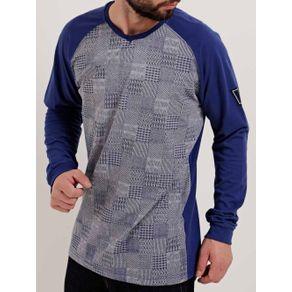 Camiseta Manga Longa Masculina Dixie Cinza/azul G
