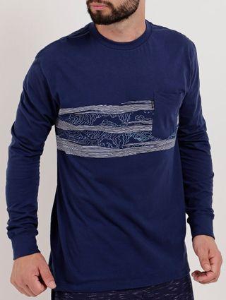 Camiseta Manga Longa Masculina Nicoboco Azul Marinho
