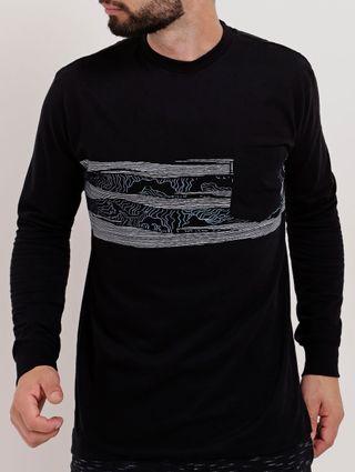 Camiseta Manga Longa Masculina Nicoboco Preto