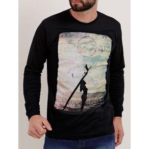 Camiseta Manga Longa Masculina Preto M