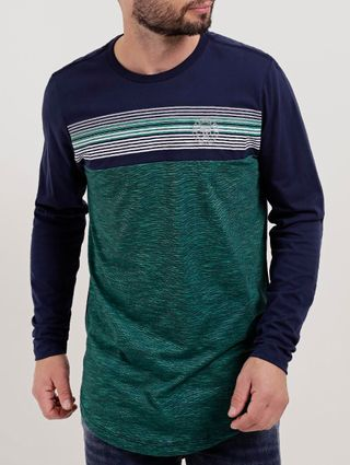 Camiseta Manga Longa Masculina Verde/azul