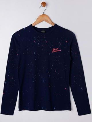 Camiseta Manga Longa Rovitex Juvenil para Menino - Azul Marinho
