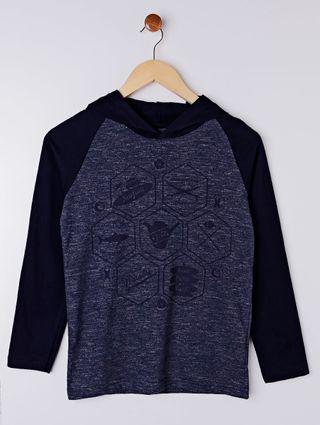 Camiseta Manga Longa Vels Juvenil para Menino - Azul Marinho