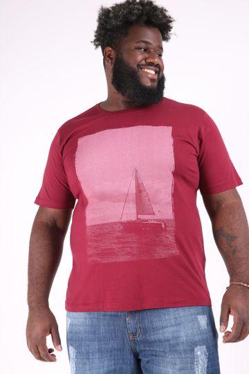 Camiseta Masculina Manga Curta Travel Plus Size Vinho M