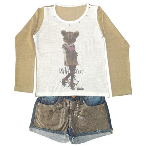 Camiseta Menina Malha Flamê e Mangas Lurex Dourado e Short com Lantejoulas Douradas Conjunto 6