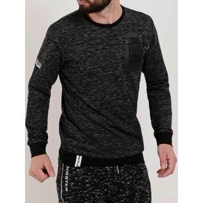Camiseta Moletinho Manga Longa Masculina Preto M
