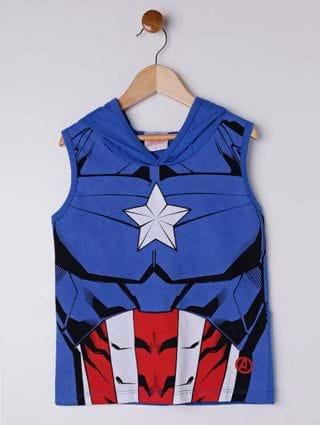 Camiseta Regata Avengers Infantil para Menino - Azul