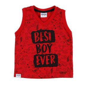 Camiseta Regata Infantil para Bebê Menino - Vermelho M