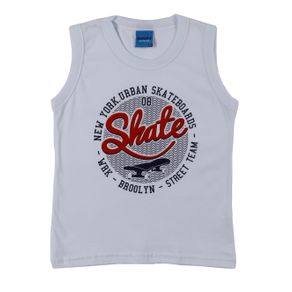Camiseta Regata Infantil para Menino - Branco 2