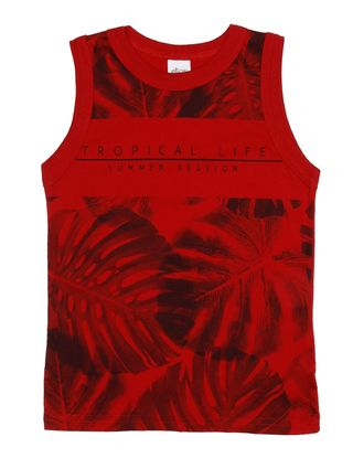 Camiseta Regata Infantil para Menino - Vermelho