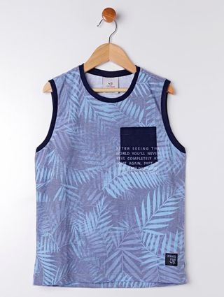 Camiseta Regata Juvenil para Menino - Azul
