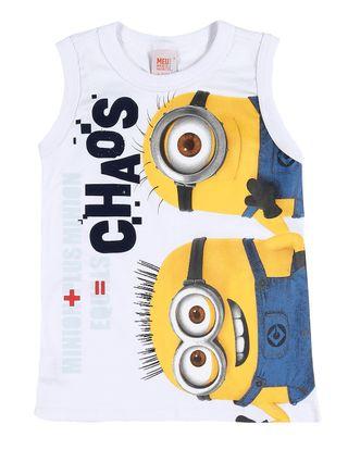 Camiseta Regata Minions Infantil para Menino - Branco