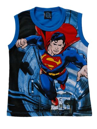 Camiseta Regata Superman Infantil para Menino - Azul