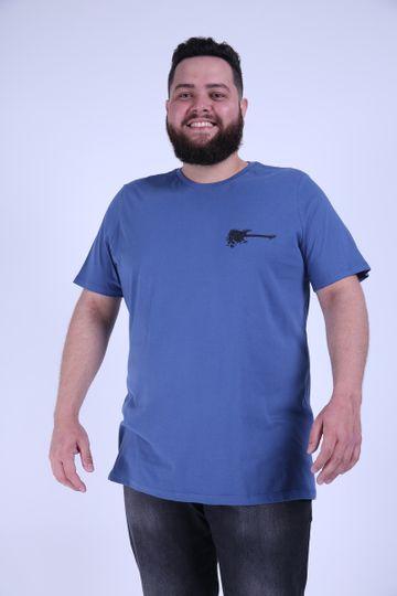 Camiseta Silk Guitarra Plus Size Azul EX